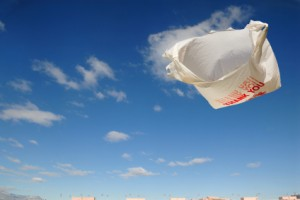 Plastic bag in the sky
